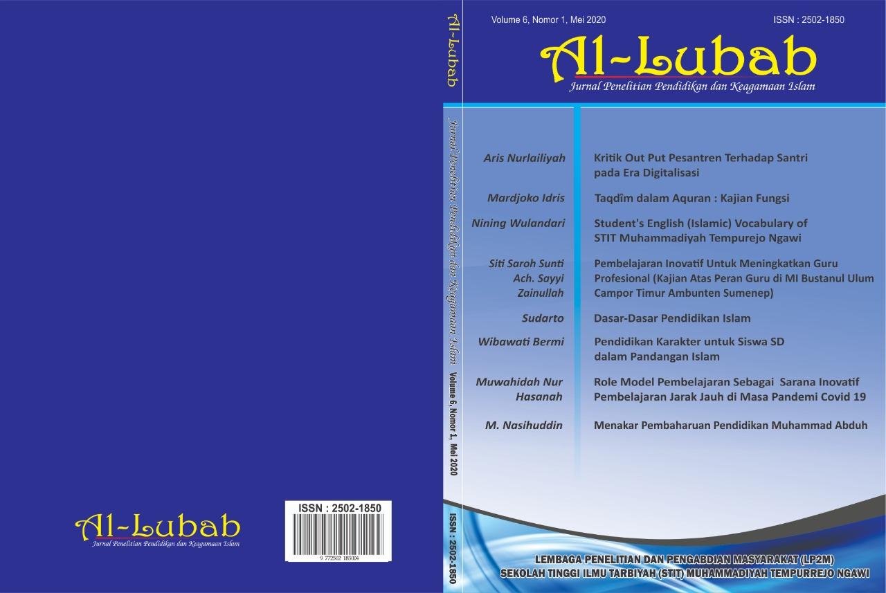 Al Lubab Jurnal Penelitian Pendidikan Dan Keagamaan Islam