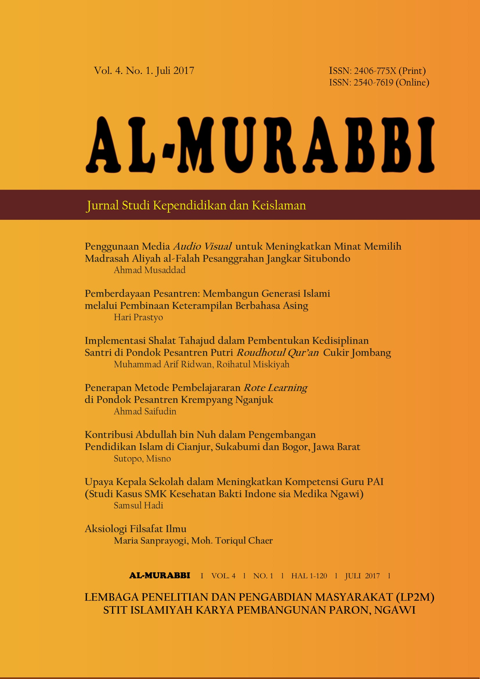 Aksiologi Filsafat Ilmu Dalam Pengembangan Keilmuan Al Murabbi Jurnal Studi Kependidikan Dan Keislaman
