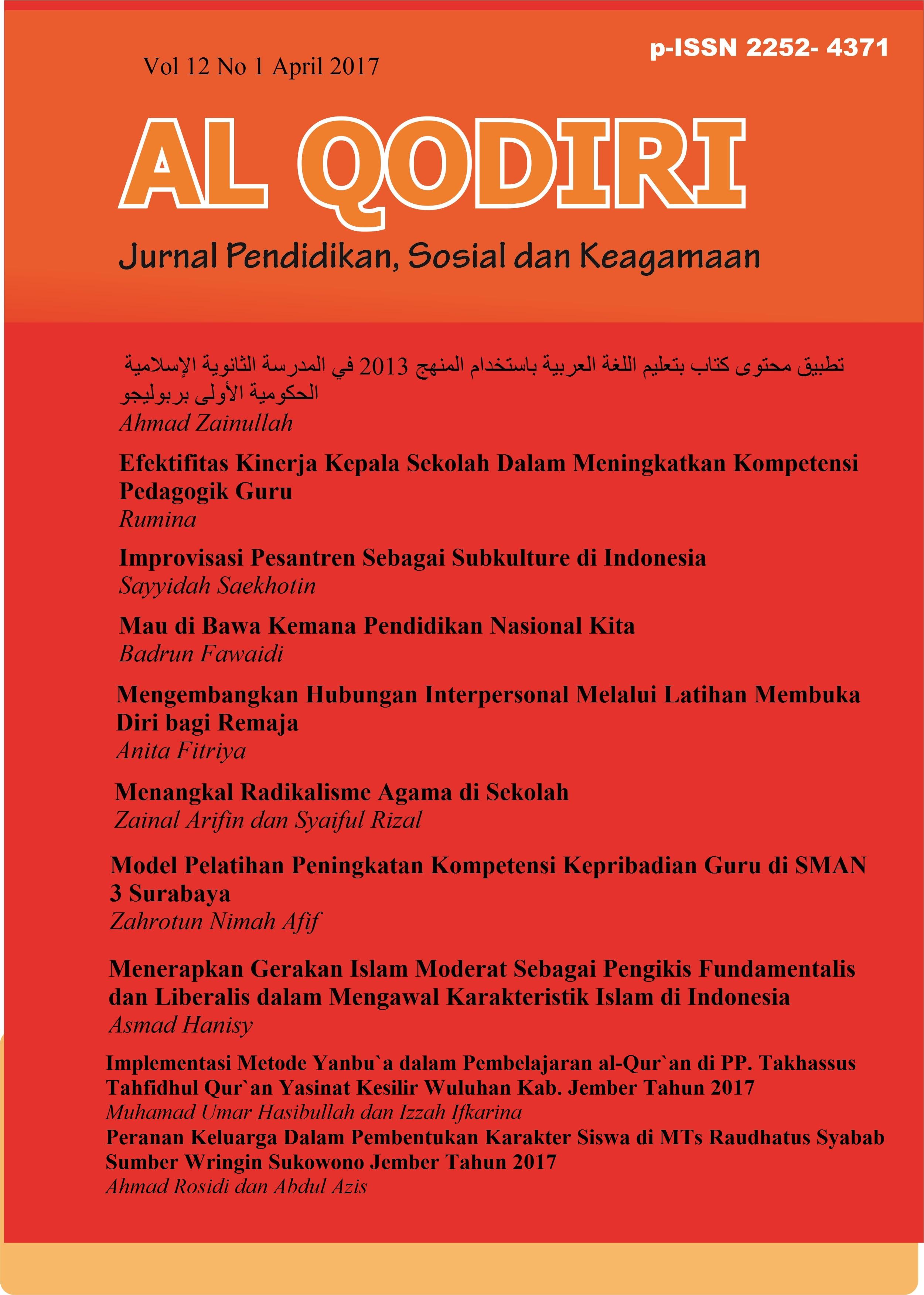 Al Qodiri Jurnal Pendidikan, Sosial dan Keagamaan